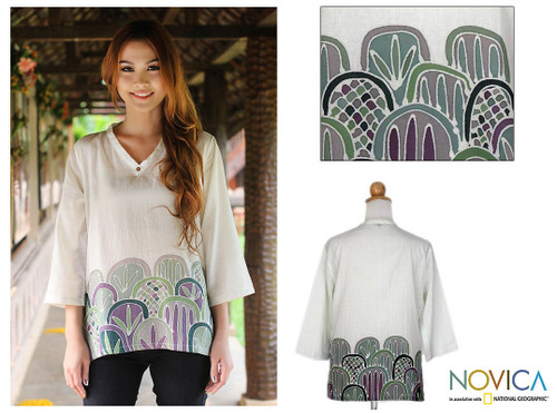Painted Cotton Tunic 'Forest Magic'