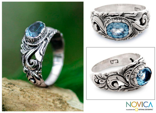 Handcrafted Blue Topaz and Sterling Silver Ring 'Feminine Charm'