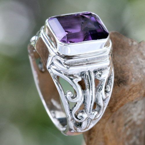 Men's Sterling Silver and Amethyst Ring 'Wisdom Warrior'