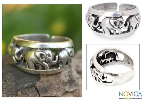 Handmade Sterling Silver Band Ring 'Siam Elephants'
