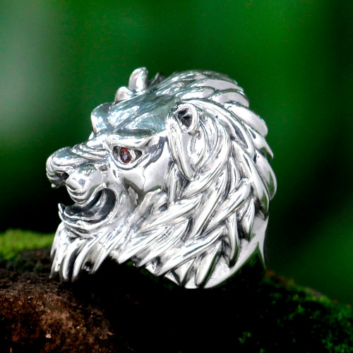 Men's Artisan Crafted Sterling Silver and Garnet Ring 'Lion Power'