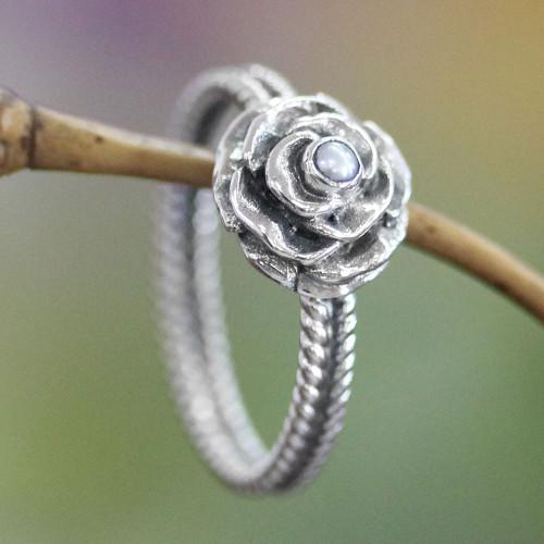 Handmade Sterling Silver and Pearl Flower Ring 'Glamorous Rose of June'