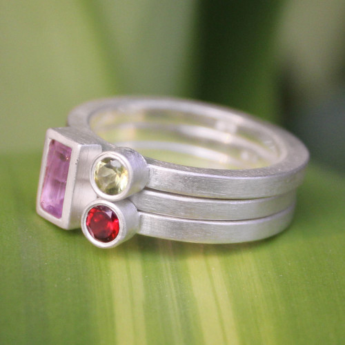 Unique Silver and Amethyst Stacking Rings Set of 3 'Gemstone Geometry'