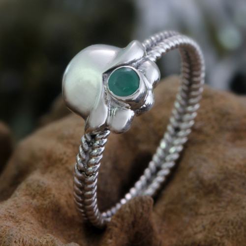 Emerald and Sterling Silver Ring 'May's Lily of the Valley'