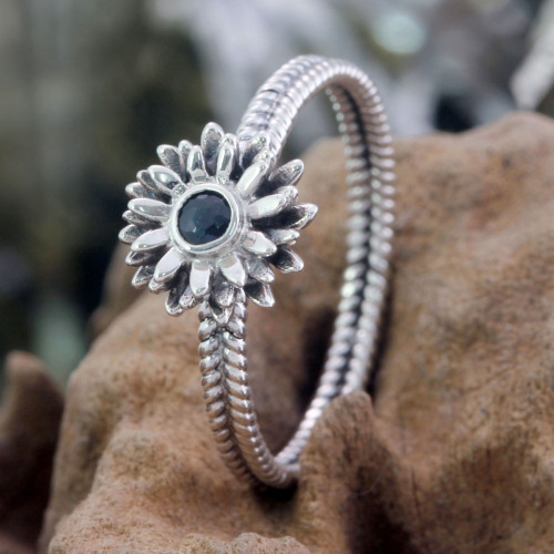 Floral Sterling Silver and Sapphire Ring 'September Aster'