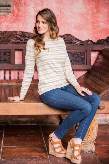 Women's Cotton Sweater with Ivory Jade Brown Stripes 'Horizon'