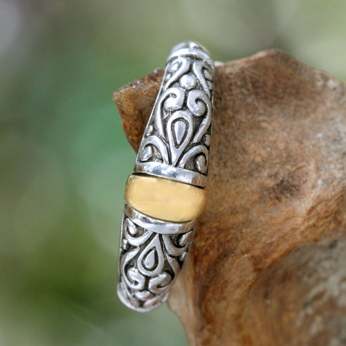 Sterling Silver and Gold Accent Ring 'Balinese Twilight'