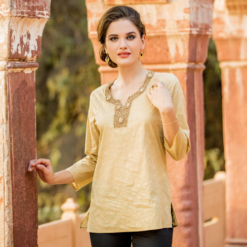 Gold Beaded Women's Cotton Tunic with Floral Print 'Golden Blossoms'