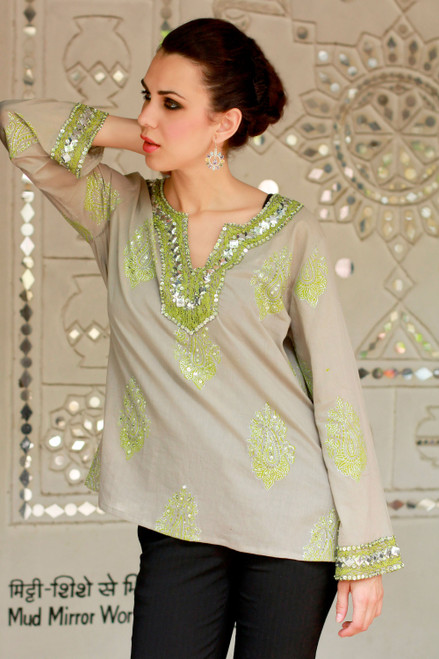 Grey Cotton Tunic with Green and Silver Embellishments 'Jaipur Fascination'