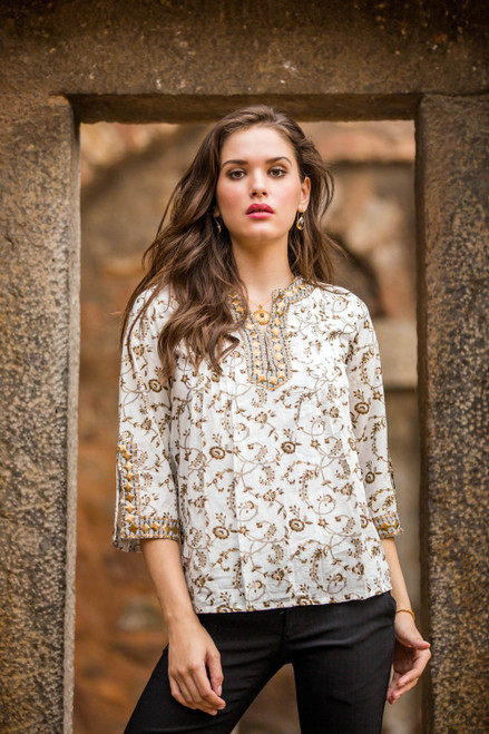White Cotton Tunic with Floral Block Print and Beading 'Floral Garden'