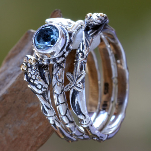 Blue Topaz and Sterling Silver Stacking Rings 'Tree Frog'
