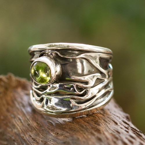 Unique Modern Fine Silver Peridot Ring 'Taxco Dawn'