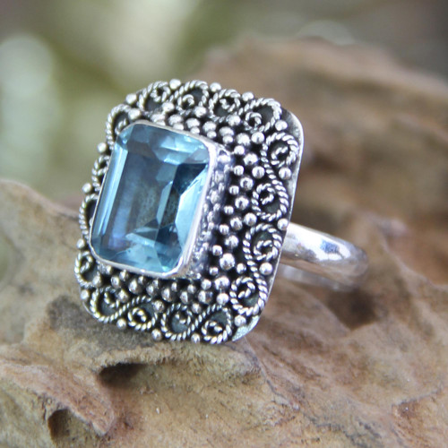 Blue Topaz and Sterling Silver Cocktail Ring 'Java Skies'