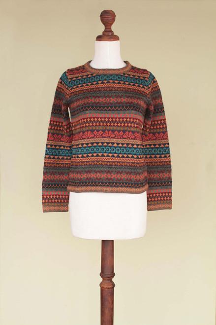 Peruvian Alpaca Wool Sweater 'Autumn Medley'