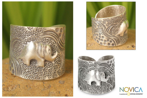 Sterling Silver Elephant Wrap Ring 'King of the Forest'