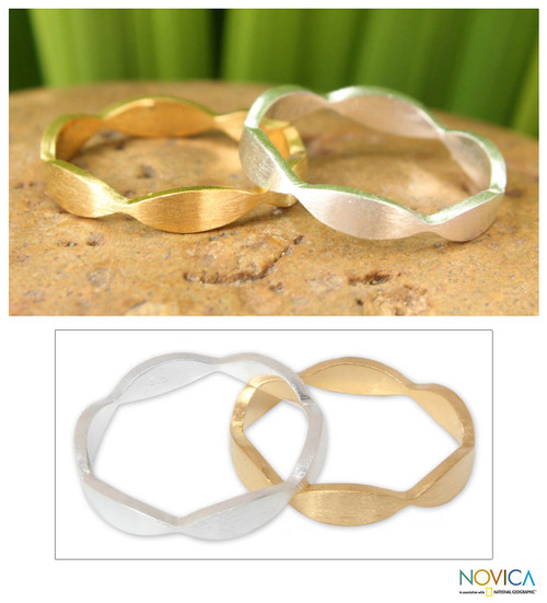 Artisan Crafted Sterling Silver and Vermeil Band Ring Pair 'Soul Mates'