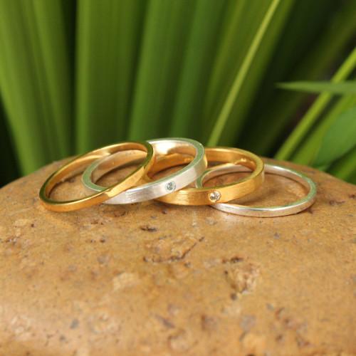 Gold Vermeil Gemstone Stacking Rings Set of 4 'Thai Spark'