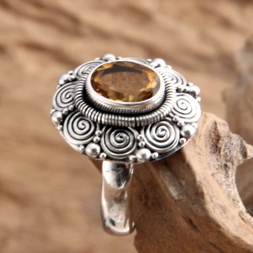 Indonesian Sterling Silver and Citrine Cocktail Ring 'Balinese Sunflower'