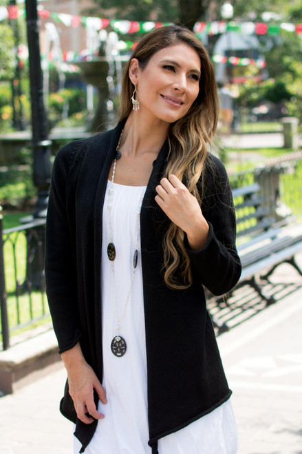 Cotton Alpaca Blend Fashion Cardigan 'Andean Black'