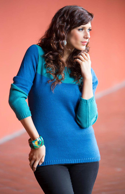 Artisan Crafted Alpaca Blend Color Block Sweater 'Andean Blues'