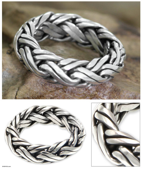 Men's Indonesian Sterling Silver Ring 'Gallant'