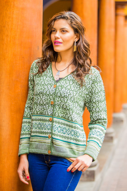 Fair Trade Alpaca Wool Cardigan Sweater 'Andean Horizon'