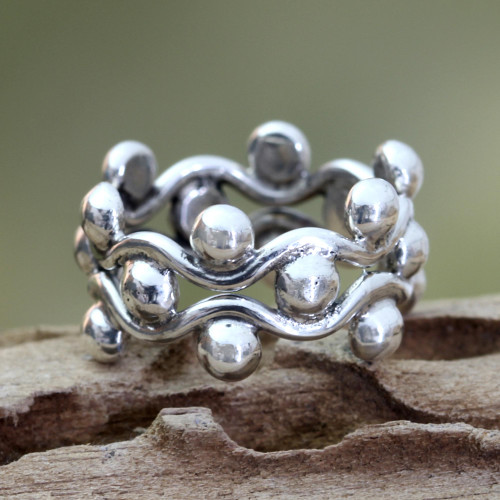 Sterling Silver Band Ring 'Floral Buds'