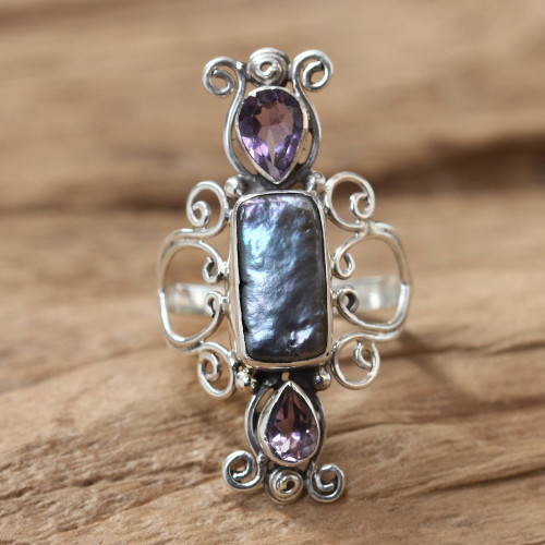 Pearl and Amethyst Silver Cocktail Ring 'Lavender Myths'