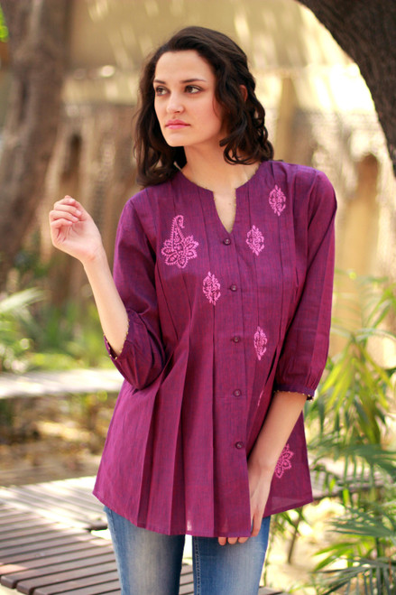 Beaded Cotton Tunic Blouse Block Printed by Hand 'Magenta Blush'