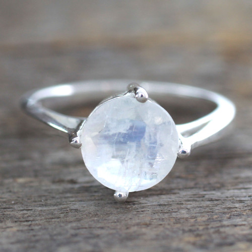 Fair Trade Sterling Silver Single Stone Moonstone Ring 'India Fortune'