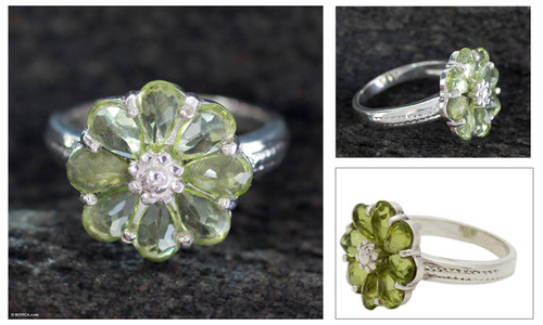Floral Sterling Silver and Peridot Cocktail Ring 'Joyous Blossom'