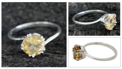 Handcrafted Sterling Silver Solitaire Citrine Ring 'Delhi Crown'