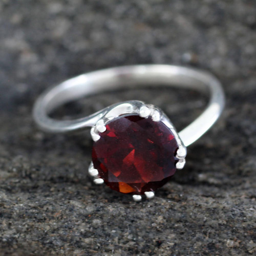 Sterling Silver and Garnet Solitaire Ring 'Delhi Crown'
