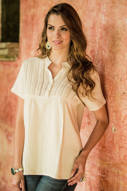 Women's Cotton Embroidered Tunic Top 'Quiet Sand'