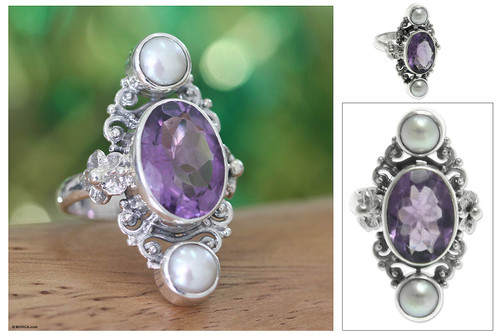 Cultured pearl and amethyst ring 'Frangipani Queen'