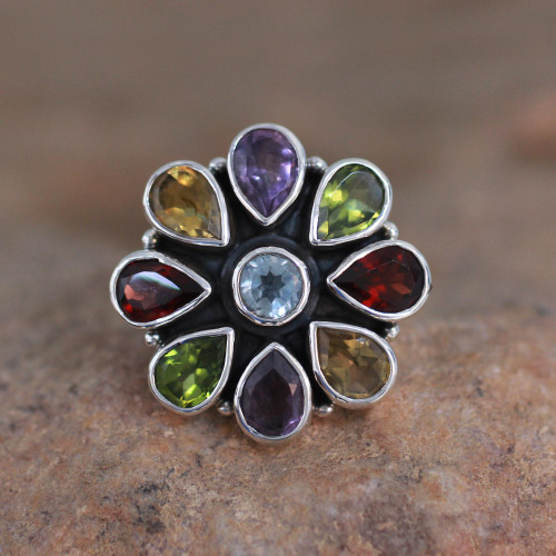 Natural Gemstone Flower Ring in Sterling Silver from India 'Floral Glamour'