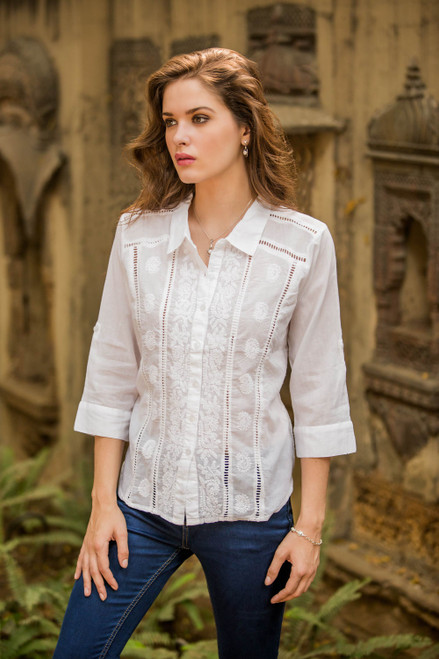 White Hand Embroidered Poet's Blouse 'Morning Glory'