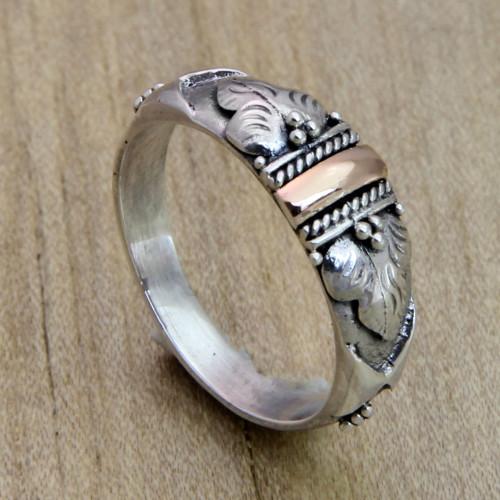Handmade Silver and 18k Gold Ring 'Frangipani Aura'
