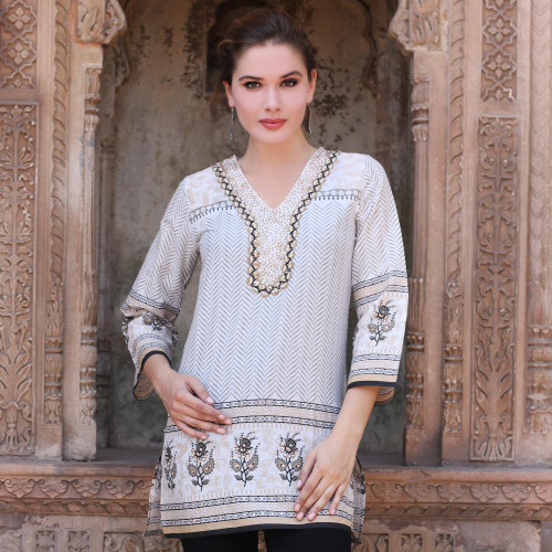 Cotton Block Print Tunic with Beadwork and Sequins 'Golden Magic'