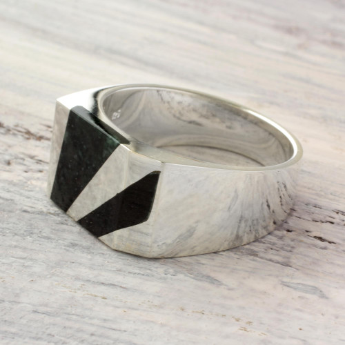 Artisan Crafted Dark Green Jade Inlay Modern Men's Ring 'Lord of the Night'