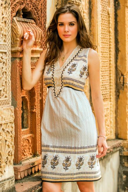 Beaded Cotton Block Print Sleeveless Dress with Sequins 'Golden Magic'