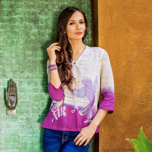 Handcrafted Batik on Cotton Tunic Thailand 'Purple Songbird'