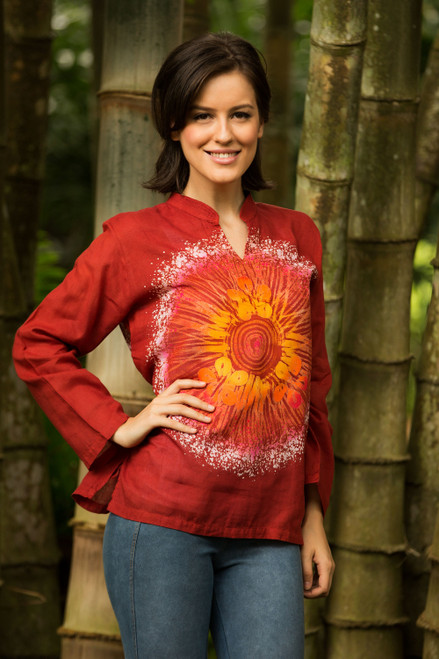 Women's Handcrafted Red Cotton Batik Tunic 'Red Flower Power'