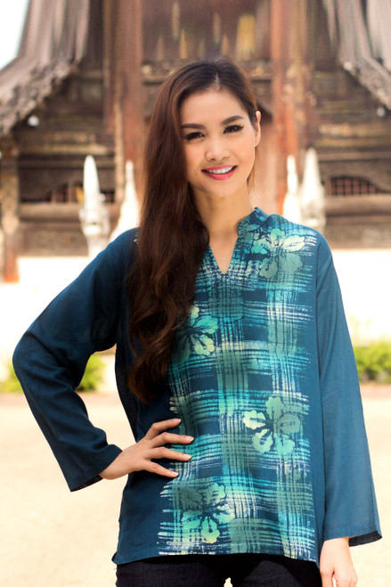 Handcrafted Teal Cotton Batik Tunic 'Teal Thai Hibiscus'