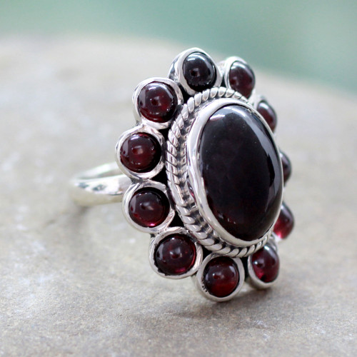 Floral Jewelry Sterling Silver and Garnet Ring 'Scarlet Petals'