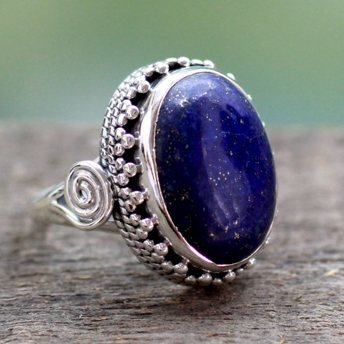 Handcrafted Sterling Silver and Lapis Lazuli Cocktail Ring 'Majestic Blue'