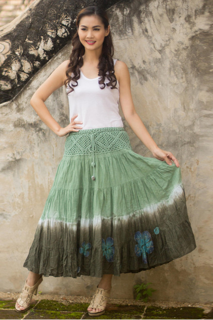 Long Cotton Batik and Crochet Skirt from Thailand 'Green Boho Chic'