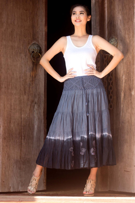 Long Cotton Batik and Crochet Skirt from Thailand 'Grey Boho Chic'