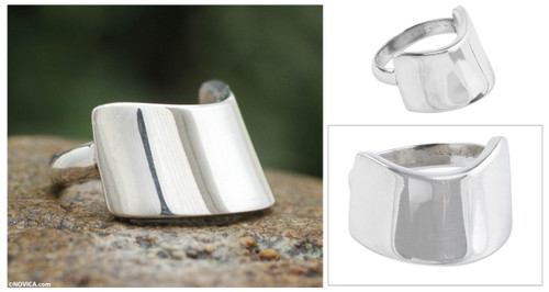 Artisan Jewelry Sterling Silver Ring 'Inca Pectoral'