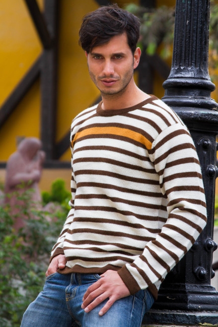 Men's Gold Accent Brown and White Alpaca Wool Sweater 'Andean Sun'